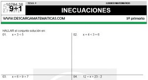 09 INECUACIONES - QUINTO DE PRIMARIA