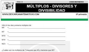 10 MÚLTIPLOS - DIVISORES Y DIVISIBILIDAD - QUINTO DE PRIMARIA