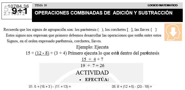 10 OPERACIONES COMBINADAS DE ADICIÓN Y SUSTRACCIÓN