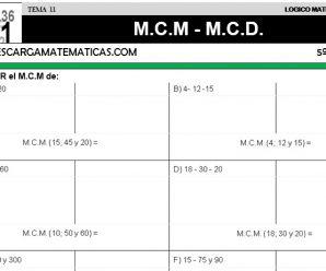 DESCARGAR M.C.M. Y M.C.D. – MATEMATICA QUINTO DE PRIMARIA