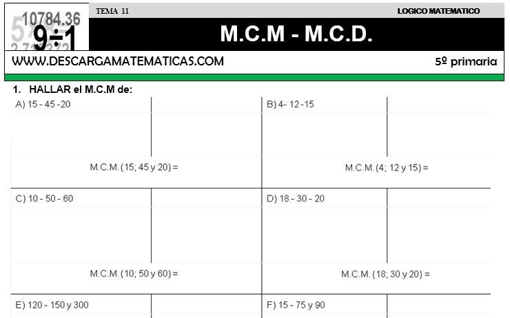 11 M.C.M - M.C.D. - QUINTO DE PRIMARIA