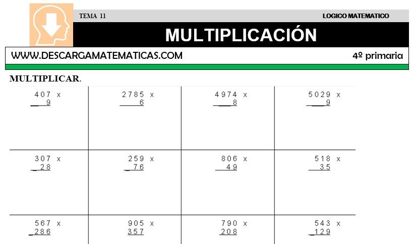 DESCARGAR MULTIPLICACION – MATEMATICA CUARTO DE PRIMARIA – Descarga ...
