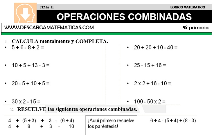 11 OPERACIONES COMBINADAS - TERCERO DE PRIMARIA