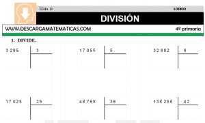 12 DIVISIÓN - CUARTO DE PRIMARIA