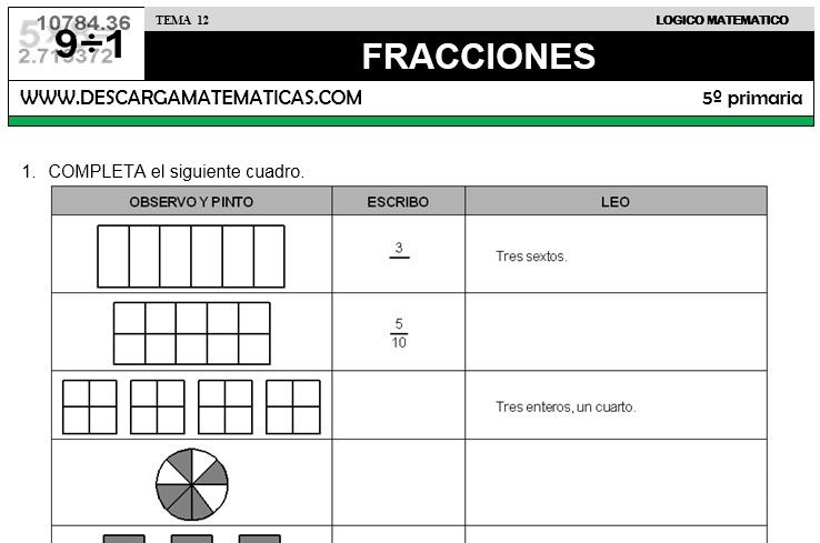 12 FRACCIONES - QUINTO DE PRIMARIA