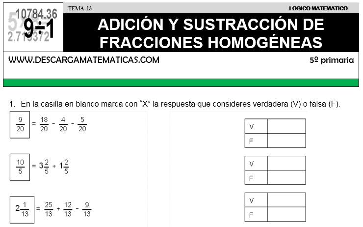 13 ADICIÓN Y SUSTRACCIÓN DE FRACCIONES I- QUINTO DE PRIMARIA