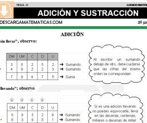 DESCARGAR ADICION Y SUSTRACCION – MATEMATICA TERCERO DE PRIMARIA