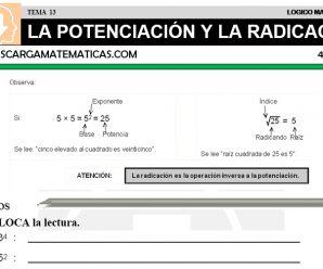 DESCARGAR LA POTENCIACION Y LA RADICACION – MATEMATICA CUARTO DE PRIMARIA