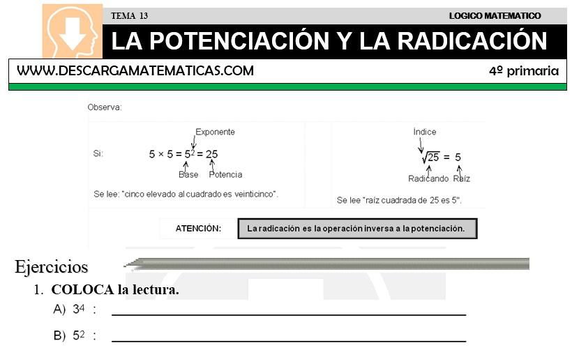 13 LA POTENCIACIÓN Y LA RADICACIÓN - CUARTO DE PRIMARIA