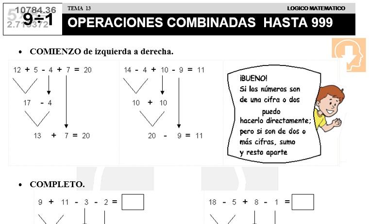 13 OPERACIONES COMBINADAS HASTA 999 - SEGUNDO DE PRIMARIA