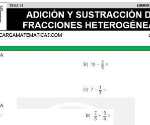 DESCARGAR ADICION Y SUSTRACCION DE FRACCIONES II – MATEMATICA QUINTO DE PRIMARIA