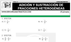 14 ADICIÓN Y SUSTRACCIÓN DE FRACCIONES II