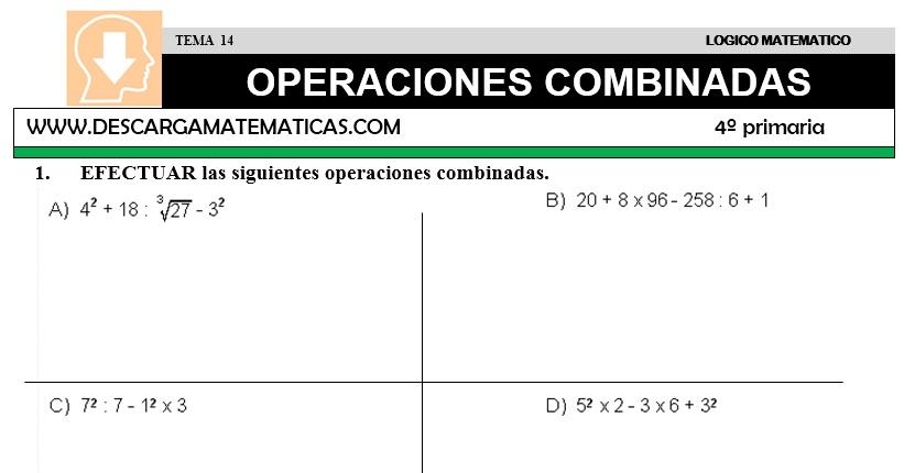 14 OPERACIONES COMBINADAS - CUARTO DE PRIMARIA