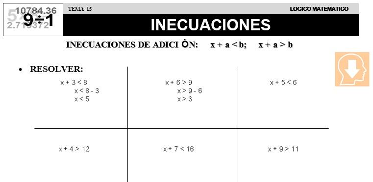 15 INECUACIONES - SEGUNDO DE PRIMARIA