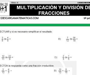 DESCARGAR MULTIPLICACION Y DIVISION DE FRACCIONES – MATEMATICA QUINTO DE PRIMARIA