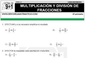 15 MULTIPLICACIÓN Y DIVISIÓN DE FRACCIONES - QUINTO DE PRIMARIA