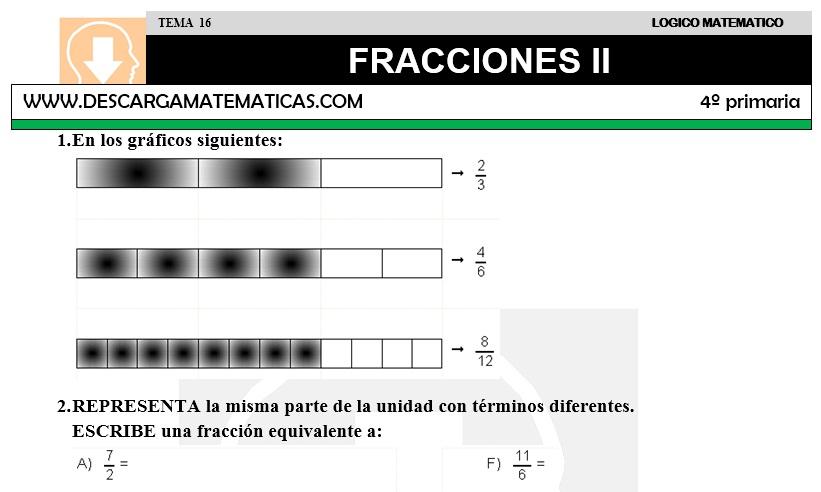 DESCARGAR FRACCIONES II – MATEMATICA CUARTO DE PRIMARIA – Descarga ...