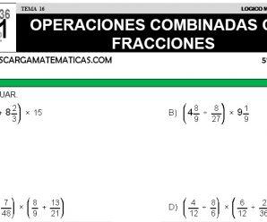 DESCARGAR OPERACIONES COMBINADAS CON FRACCIONES – MATEMATICA QUINTO DE PRIMARIA