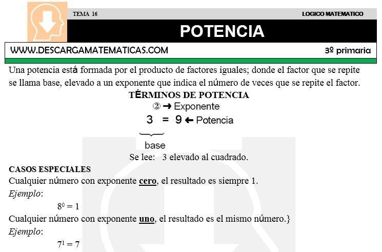 16 POTENCIA - TERCERO DE PRIMARIA