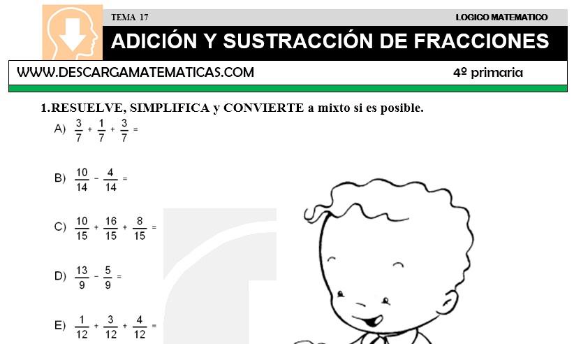 DESCARGAR ADICION Y SUSTRACCION DE FRACCIONES – MATEMATICA CUARTO DE ...