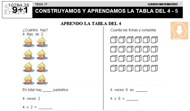 17 CONSTRUYAMOS Y APRENDAMOS LA TABLA DEL 4 Y 5 - SEGUNDO DE PRIMARIA