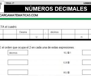 DESCARGAR NUMEROS DECIMALES – MATEMATICA QUINTO DE PRIMARIA