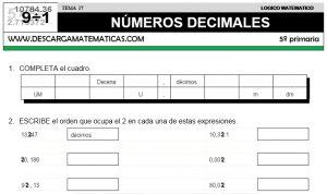17 NÚMEROS DECIMALES - QUINTO DE PRIMARIA
