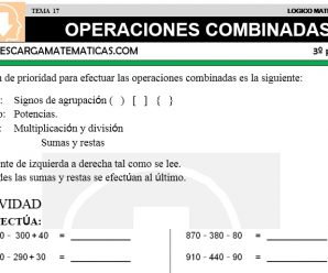 DESCARGAR OPERACIONES COMBINADAS – MATEMATICA TERCERO DE PRIMARIA