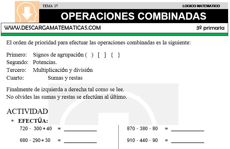 DESCARGAR OPERACIONES COMBINADAS – MATEMATICA TERCERO DE PRIMARIA ...