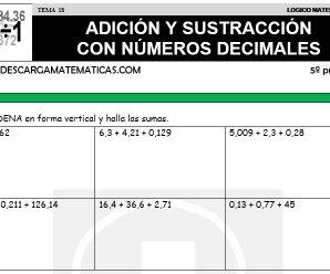 DESCARGAR ADICION Y SUSTRACCION CON NUMEROS DECIMALES – MATEMATICA QUINTO DE PRIMARIA