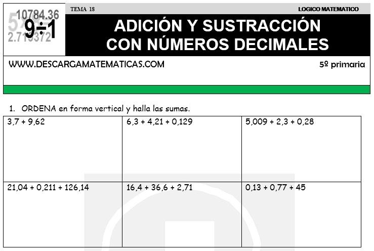 18 ADICIÓN Y SUSTRACCIÓN CON NUMEROS DECIMALES - QUINTO DE PRIMARIA