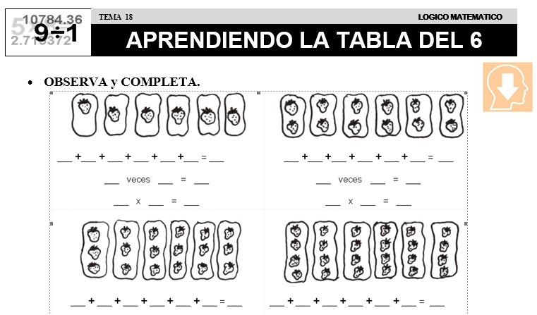 18 APRENDIENDO LA TABLA DEL 6 - SEGUNDO DE PRIMARIA
