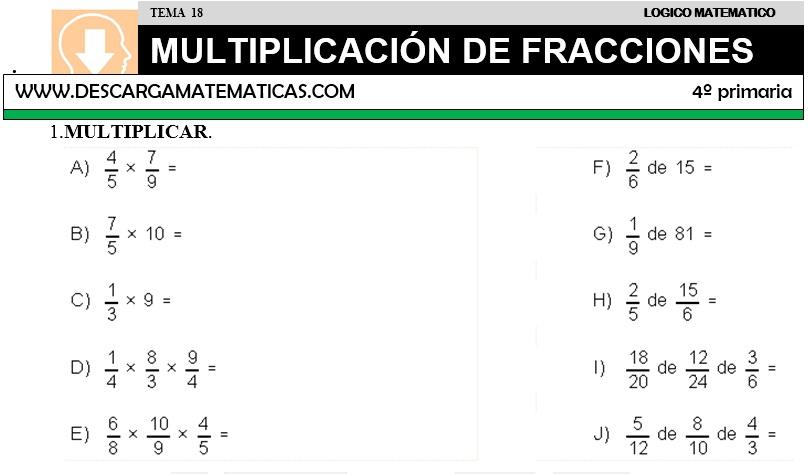 18 MULTIPLICACIÓN DE FRACCIONES - CUARTO DE PRIMARIA