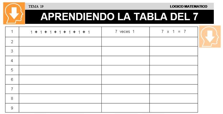 19 APRENDIENDO LA TABLA DEL 7 - SEGUNDO DE PRIMARIA