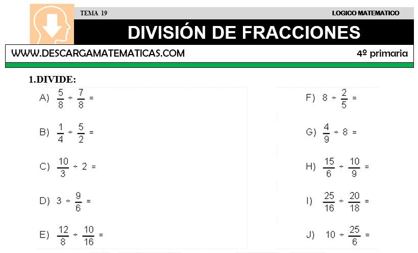 19 DIVISIÓN DE FRACCIONES - CUARTO DE PRIMARIA