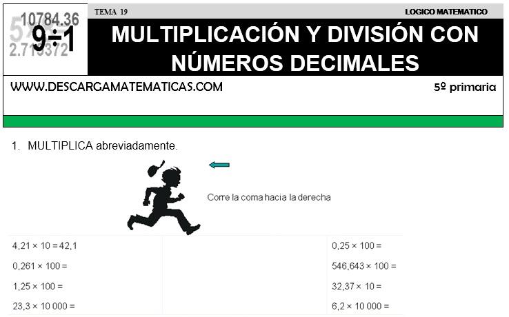 19 MULTIPLICACIÓN Y DIVISIÓN CON NÚMEROS DECIMALES - QUINTO DE PRIMARIA