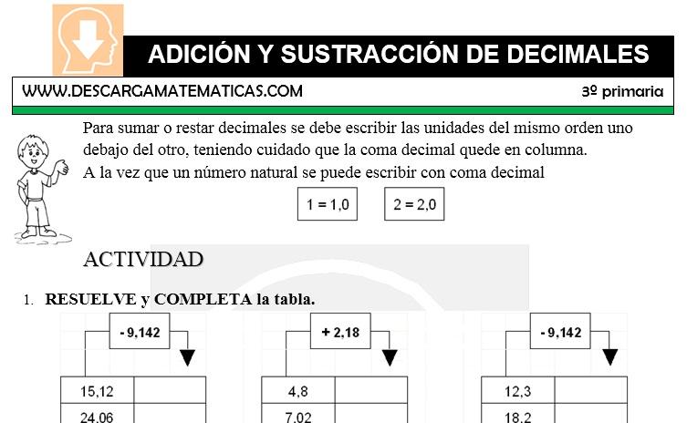 20 ADICIÓN Y SUSTRACCIÓN DE DECIMALES - TERCERO DE PRIMARIA