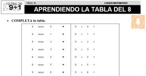 20 APRENDIENDO LA TABLA DEL 8 - SEGUNDO DE PRIMARIA