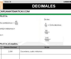 DESCARGAR DECIMALES – MATEMATICA CUARTO DE PRIMARIA
