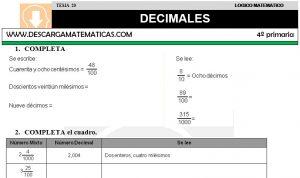 20 DECIMALES - CUARTO DE PRIMARIA
