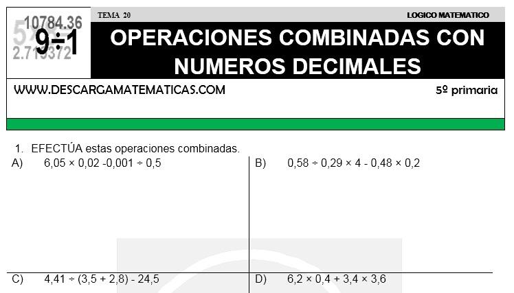 20 OPERACIONES COMBINADAS CON DECIMALES - QUINTO DE PRIMARIA