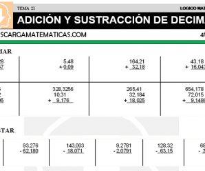 DESCARGAR ADICION Y SUSTRACCION DE DECIMALES – MATEMATICA CUARTO DE PRIMARIA