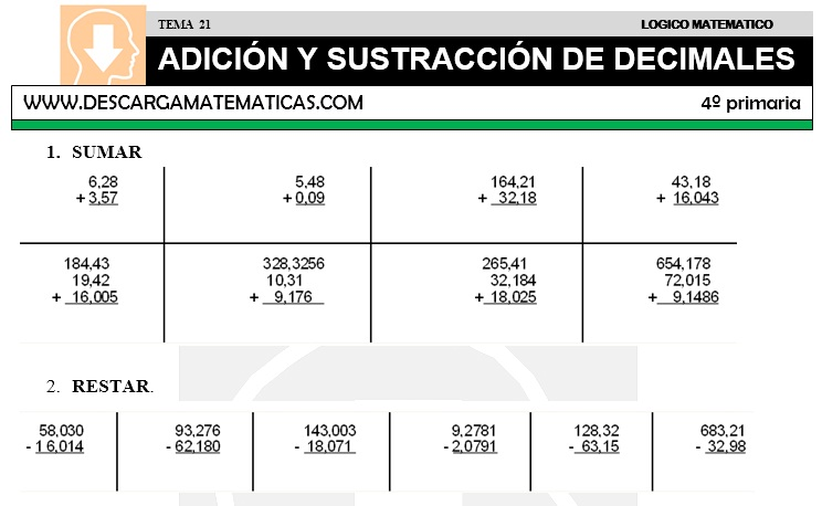 21 ADICIÓN Y SUSTRACCIÓN DE DECIMALES - CUARTO DE PRIMARIA