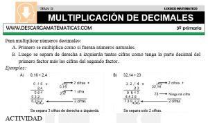 21 MULTIPLICACIÓN DE DECIMALES - TERCERO DE PRIMARIA