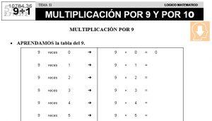 21 MULTIPLICACIÓN POR 9 Y POR 10 - SEGUNDO DE PRIMARIA