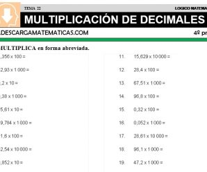 DESCARGAR MULTIPLICACION DE DECIMALES – MATEMATICA CUARTO DE PRIMARIA
