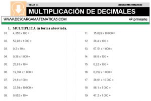 22 MULTIPLICACIÓN DE DECIMALES - CUARTO DE PRIMARIA