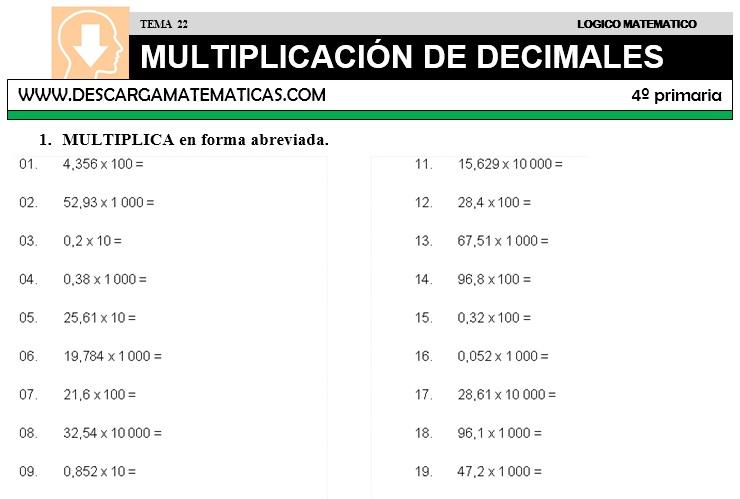 DESCARGAR MULTIPLICACION DE DECIMALES – MATEMATICA CUARTO DE ...