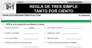 22 REGLA DE TRES SIMPLE Y TANTO POR CIENTO - QUINTO DE PRIMARIA