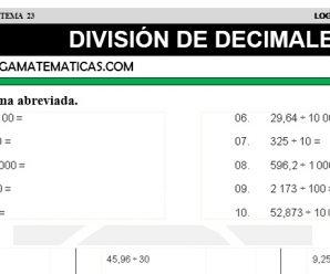 DESCARGAR DIVISION DE DECIMALES – MATEMATICA CUARTO DE PRIMARIA